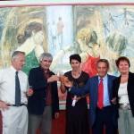 """Michel Thiers, vice président du conseil général du rhône et Paul Minssieux, maire de Brignais, lors de l'inauguration de la toile"""" liberté égalité fraternité"""" en 2005"""