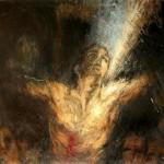 """Cardinal Barbarin, archevèque de Lyon: """"Ténèbres ou lumière"""" (162cm x 130cm)"""