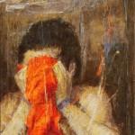 Le foulard rouge 2 ( 65cm x 81cm )